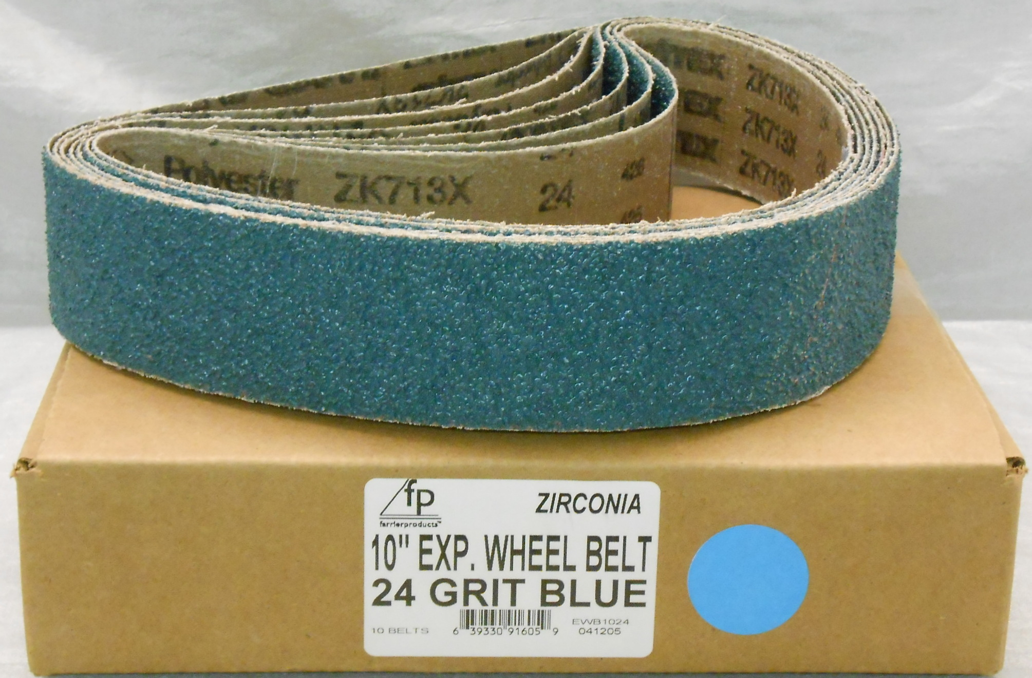 "FP 10"" Ex Wheel Belt 24 Grit Blue Zirconia-Box of 10"
