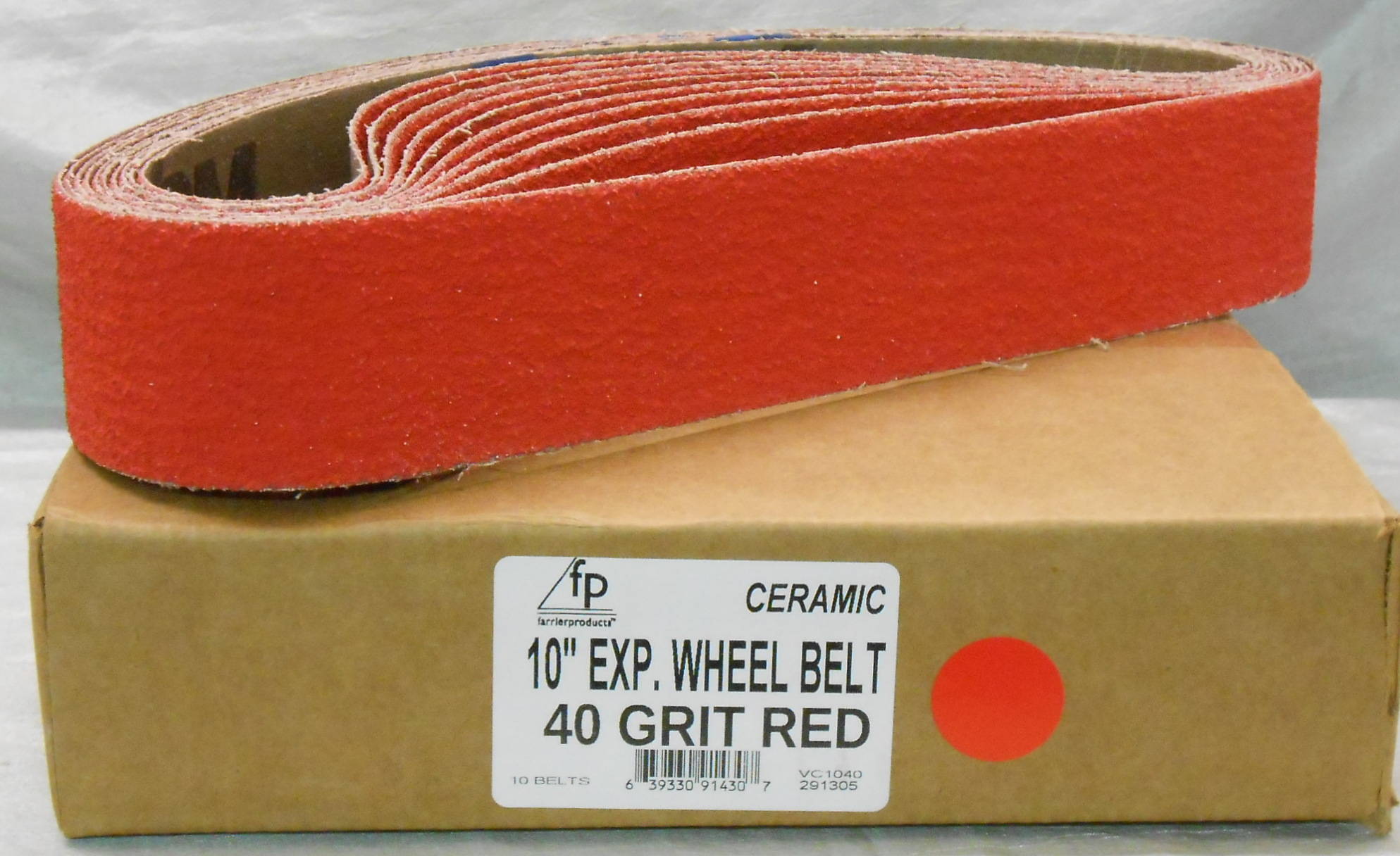 "FP 10"" Ex Wheel Belt 40 Grit Red Ceramic - Box of 10"